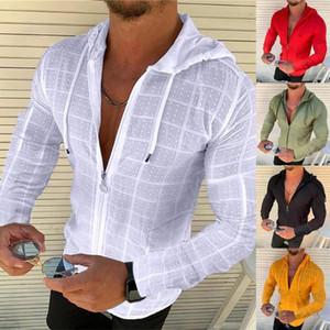 Homens outono inverno manga comprida hoodie zip cordão cheque gird jaqueta de casaco slim