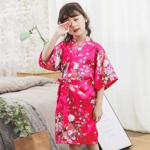 2020 Spring Summer Children Satin Robes Kimono Bath Robe Kids Flower Print Girl Silk Bathrobe Kids V-neck Lace-up Nightgownsda