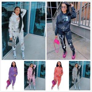 Femmes Survêtement Deux Pièces Scénographe Lettres Mode Imprimé à manches longues pull avec capuche Pantalons Tenues Femme Rue Costume Casual 2020
