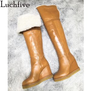 Kadınlar Kahverengi Siyah Deri Parti Kadın Ayakkabı Uyluk yüksek Boots Kış Yün Sıcak Pist için diz Boots Üzeri Yeni Kama topuk
