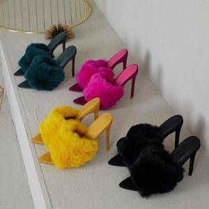 Europäische Station Sandalen Süßigkeiten Farbe Luxus Kaninchen Pelz High Heel Sandalen Hausschuhe Große Frauen Schuhe Größe 35-43 2020 NEU # KH5C