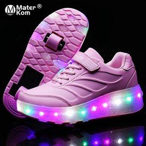Размер 28-43 Световые роликовые кроссовки для детей для девочек USB аккумуляторные светодиодные туфли с двойными колесами для детей с огнями Y201028