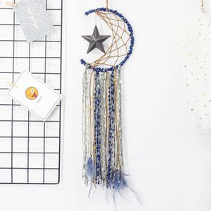 DreamCatcher Bells Hang Moon Star Catcher DreamCatcher Mode Feather Dream Catcher Pendentif Wall Suspension Salle de pendaison Décoration Handicraft HWA3473
