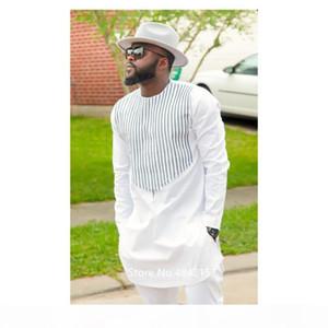 New African Clothing Dashiki Dress for Men Male Design Stripe Printed Succinct White Long Sleeve Fashion Camisa Shirt Pants Set