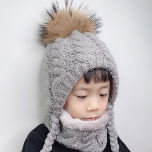 VIP. Fur Pompom Beanie Kids Baby Winter Fleece Inside Ear Protection Crochet Cap Warm Knitted Hat And Scarf Set For Children
