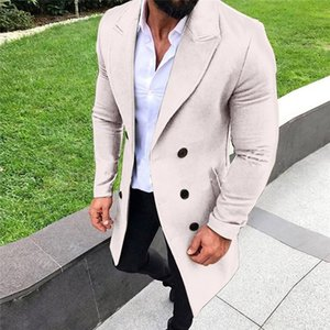 Men's Tweed Blazer Double-Breasted Long Jacket Men Winter Beige Warm Overcoat Male 2020 Fashion Slim Fit Coat Chaqueta de hombre