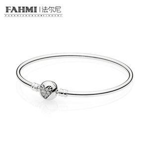 FAHMI 100% 925 Sterling silver 1:1 Original Authentic 596404CZ Charm Basic Bracelet Suitable DIY Beaded Women Jewelry
