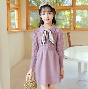 Big Girls Knitting Dress Fall Winter New Children Lapel Silk Bows Tie Knitting Sweater Dress Old Kids Princess Dress 5-16T A4577