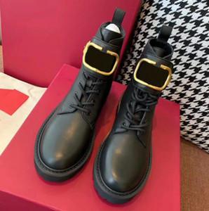 Bouton métallique pour femmes bottes courtes bottes courtes Tube courte plate-forme plate-forme chaussures plates martin style automne hiver