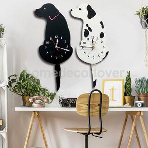 Cartoon acrilico coda scodinzolante cane innovativa Home Cafe Bar Negozio Wall Clock Cute Puppy Animal Decor Props Timen Guarda