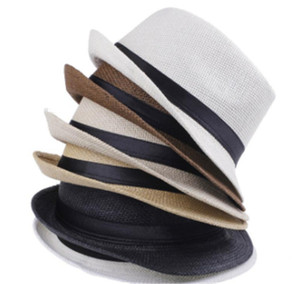 Vogue Men And Women Hat Kids Children Straw Hats Cap Soft Fedora Panama Belt Hats Outdoor Stingy Brim Caps Spring Summer Beach