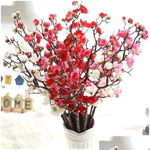 60cm 4Color Fleurs artificielles Cherry Blossom 10pieces / Lot Home Table Vase Bureau Mariage Fleur Party Dec Jlffff Lucky2005