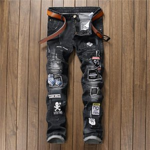 New Retro Men's Trousers Ripped Patch Black Jeans Badge Stitching Slim Non-elastic Straight Denim Trousers Handsome Autumn Pants