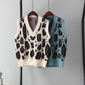 Женщины осень-зима леопарда свитер жилет женщин Вязаные рукавов Топы V-образным вырезом Тонкий Жилет Мода Одежда Женские зимние одежды