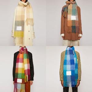 Шерстяная шарф Новая радужная сетка орежденная платка для мужчин и женских новых модных плед толстые марки платки и шарфы для женщин