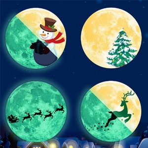 30CM Christmas Luminous Stickers Snowman Deer Pine Fluorescent Xmas Wall Sticker Merry Christmas DHL Free Shipping GWF2110