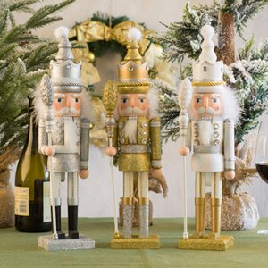 Woden Large Nutcracker Puppet King Soldier Christmas Gift Decoration Golden Silver Nutcracker Home Decorations Hot 201021