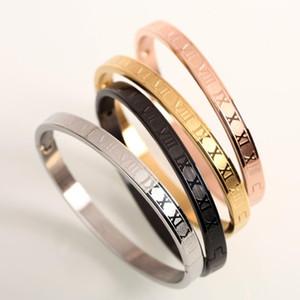 Oro rosa Bracciale in colori McIlroy Uomini braccialetto in acciaio inox intaglio gioielli in numeri romani classici di alta qualità 328