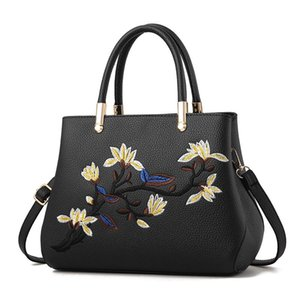 Fashion Women Handbags PU Leather Totes Bag Top-handle Embroidery Crossbody Bag Shoulder Bag Lady Simple Style Hand Bags