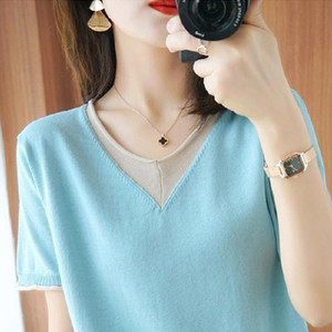 Knitted FakeTwo T-shirts Loose Women Tops O-neck Korea Female Tshirt 2020 Short Sleeve Tshirt Women Casual Clothes New 8 Colour