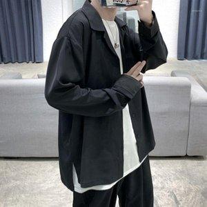 Homme Casual Chemise Coréenne Chemise Société Fashion Society Hommes Couleur Solide Business Mens Streetwear Looth Manches Longue