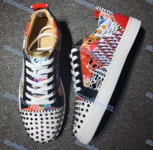 Hococal fashion marque Designer luxe men's red bottom shoes spiked low-top casual sneakers men's wedding banquet dress leather casual shoes