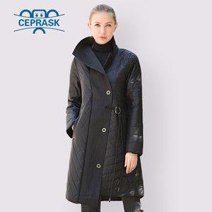 CEPRASK Bahar Sonbahar Ceket Kadınlar Sıcak Satış Ince Pamuk Parka Moda Yaka Asimetri Uzun Artı Boyutu Ceket Sıcak Giysiler 201105