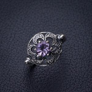 StarGems Natürlicher Amethyst Handgefertigter 925er Sterlingsilber Ring 6 E2730 W1231