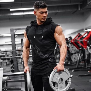Gympxinran Herren Fit Sleeveless Hoodie Bodybuilding Turnhallen Tank Tops Crossfits Workout Sleeveless Jacken Terry Top Männlich
