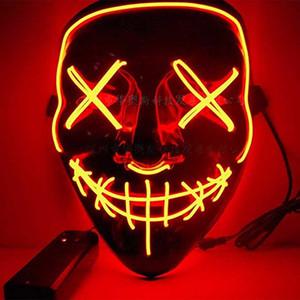 10style El Wire Mask Skull Ghost Masks Flash Resplandor Halloween Cosplay LED Mascarilla Partido Masquerade Máscaras Grimace Horror Máscaras GGA3757