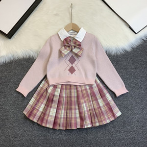 2020 hot sale high design luxury girls skirt knit top fake two-piece skirt college style sweet style free shipping