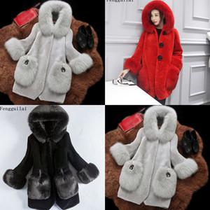 Fengguilai Moda Kış Kollu Uzun Ceket Ceket Kadınlar Faux Kürk Palto Kabanlar 97YO