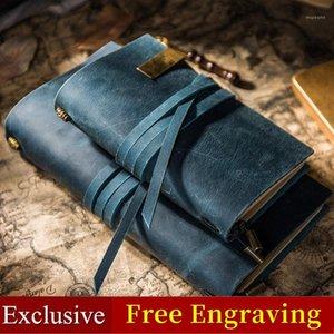 A corda de couro Vintage Genuine Leather Travellers Notebook Laço Diário Jornal Handmade Cowhide Presente Caderno de viagem grátis gravar1