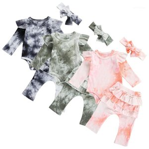 Princess Toddler Autunno Baby Girls Abiti Suit Fashion Tie Dye Print Cotton Manica lunga Bodysuitsuits + Pantaloni volant + Fascia 3pcs Set1