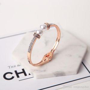 Creative design exaggerated pearl inlaid zircon bracelet exquisite luxury fashion rose gold bridal bracelet holiday jewelry gift bracelet