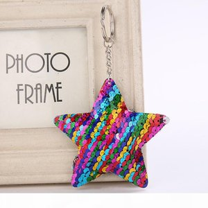 Cute Star Keychain Glitter Pompom Sequins Key Ring Gifts for Women Llaveros Mujer Charms Car Bag Accessories Key Chain d39