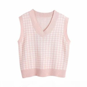 Fashion Oversized Houndstooth Knitted Vest Sweater for Women Girls Vintage Sleeveless Side Vents Female Waistcoat Chic Tops