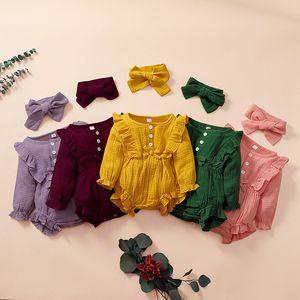 Nouveau-né enfant bébé fille manches longues en coton à manches longues romper + bandeau 2 pcs / set Combinaison Combinaison Combinaisante M3005