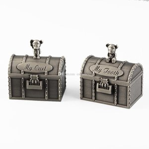 Pirates Treasure Chest Shape First Tooth and First Curl Boxes Baby Essentials Alloy Metal Keepsake Box Set Newborn Christan Shower Gifts