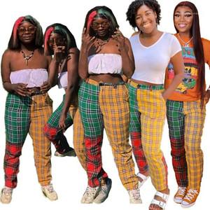 Multi Color de cintura alta Lápiz Pantalones Casual Fashion Designer Mujer Ropa para mujer pantalones rectos de la tela escocesa con paneles