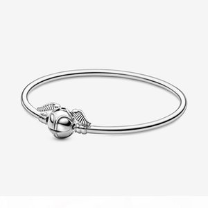 New 925 Sterling Silver Quidditch Golden Snitch Clasp designerket Bangle Harry Charm Bracelets Wings Potter Vintage Retro Tone For Men And W