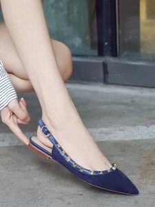 Side Flat Bottom Rivet Sharp Baotou Sandals Back Air Shallow Mouth Size Code Single Shoe