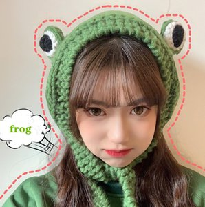 Winter Skullies Cute Frog Crochet Knitted Hat Costume Beanie Hats Women Gift Hip-hop Cap Photography Prop Party