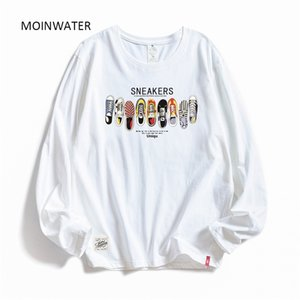Moinwater Women Casual Imprimir Manga larga camisetas Lady Algodón Negro Moda Tops Femenino Camisa de tees blancas MLT1908 200925