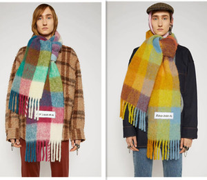 2020Brand Acne Studios high quality 4 color Wool scarf new rainbow grid fringed shawl for male and female