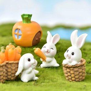 Minyatürler tavşan Paskalya tavşan hayvan heykelcik reçine zanaat mini tavşan ev kek dekorasyon aksesuarları masa ofis peri bahçe