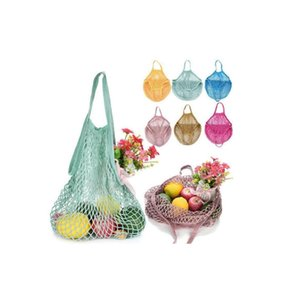 Reusable Shopping Grocery Bag 14 Color Large Size Shopper Tote Mesh Net Woven Cotton Bags Portable Shopping Bags Home Storage Bag
