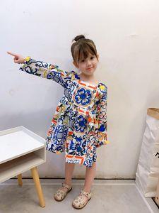 Fall 2020 Kids Designer Dress Girl Blue and White Porcelain Princess Dress Autumn Children Flower Printed Long Sleeve Pleated Dress S357