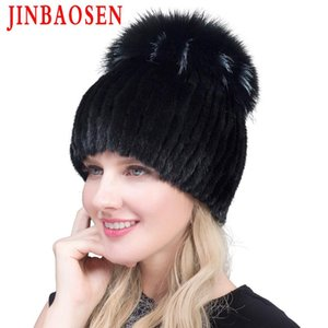 Jinbaosen 2020 Vente chaude Mode hiver Femmes chaudronneuses chaude chapeaux de vison chapeaux avec fourrure verticale top tissée