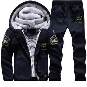 Wholesale-New 2016 2PCS Winter Thick Velvet Soft Warm Print Sweatshirt Men Set Casual Hoodies Tracksuit Mens Sweat Suits 3XL 4XL